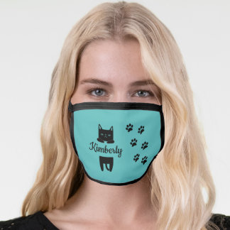 Cute black cat & paw prints with name turquoise face mask
