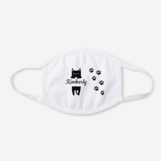 Cute black cat & paw prints with name white cotton face mask