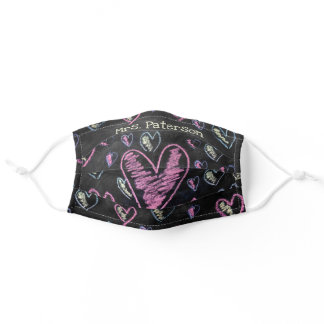 Cute black chalkboard colorful pink heart pattern adult cloth face mask