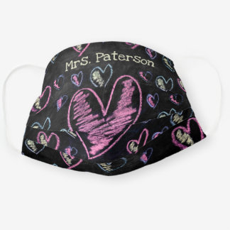Cute black chalkboard colorful pink heart pattern cloth face mask