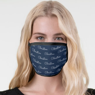 Cute Black Navy Personalized First Name Pattern Face Mask