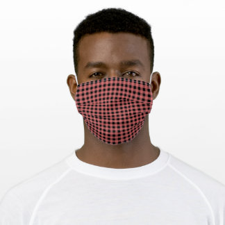 Cute Black & Pink Gingham Check Pattern Adult Cloth Face Mask