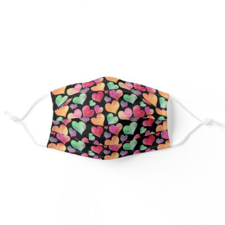 Cute Black Watercolor Colorful Heart Pattern Adult Cloth Face Mask