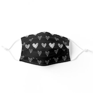 Cute Black & White Doodle Hearts, Love Adult Cloth Face Mask