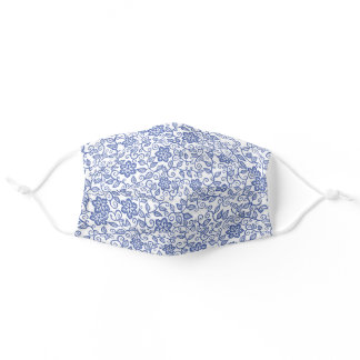Cute Blue And White Simple Classy Floral Paisley Adult Cloth Face Mask