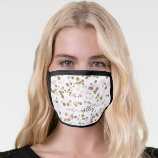 Cute Blush Pink & Gold Glitter Confetty Monogram Face Mask
