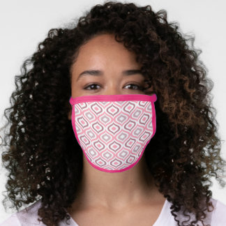 Cute Blush Rose Pink Mauve White Moroccan Ogee Art Face Mask