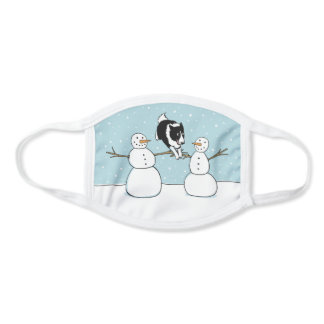 Cute Border Collie Winter Holiday with Snowmen Face Mask