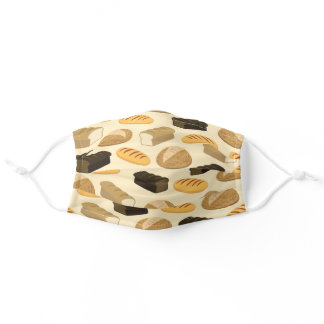 Cute Bread Loaf Bakery Cafe Print for Bakers Adult Cloth Face Mask