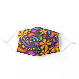 Cute bright floral retro paisley pattern adult cloth face mask