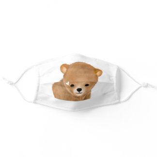 Cute Brown Bear Cub Heart Face Mask