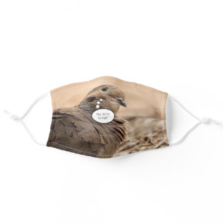 Cute Brown Dove Bird With Cartoon Thought Bubble Adult Cloth Face Mask
