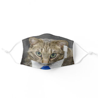 Cute Brown Tabby Cat Green Eyes Blue Tie Adult Cloth Face Mask