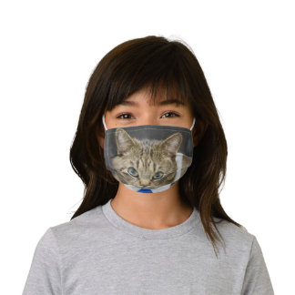 Cute Brown Tabby Cat Green Eyes Blue Tie Kids' Cloth Face Mask