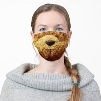 Cute Brown Vintage Teddy Bear Snout for Kid's Adult Cloth Face Mask