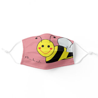 Cute Bumble Bee Personalized | Pink Adult Cloth Face Mask