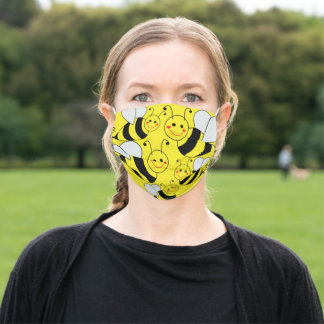 Cute Bumble Bees Yellow Adult Cloth Face Mask