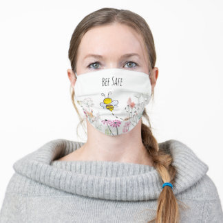 """Cute Bumblebee and Flowers """"Bee Safe"""" Cloth Face Mask"""