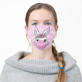Cute Bunny Flowers Bubble Easter Adult Cloth Face Mask