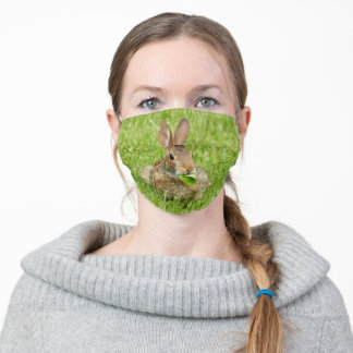 Cute Bunny Rabbit Eating Leaves Green Grass Adult Cloth Face Mask