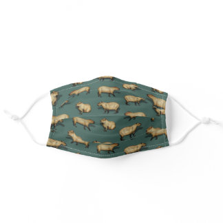 Cute Capybara Pattern - Giant Rodents on Dark Teal Adult Cloth Face Mask
