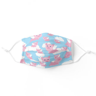 Cute Cartoon Flying Pigs Adult Cloth Face Mask