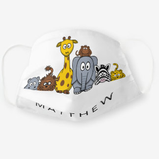 Cute Cartoon Jungle Animals Name Monogram Kids Cloth Face Mask
