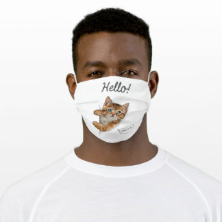 cute cat coming out of paper adult cloth face mask