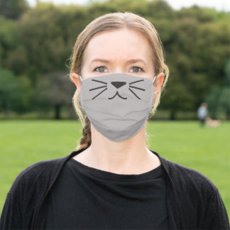 Cute Cat Kitten Animal Funny Cartoon Gray Mouse Adult Cloth Face Mask