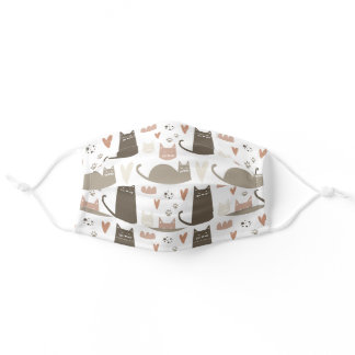 Cute Cats & Paw Prints Pattern Adult Cloth Face Mask