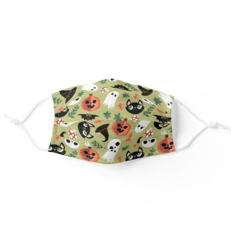 Cute Cats & Pumpkins Olive Black Halloween Pattern Adult Cloth Face Mask