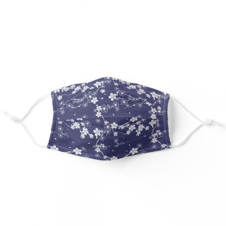 Cute Cherry Blossom Floral Kimono Navy Blue White Adult Cloth Face Mask