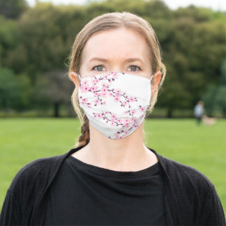 Cute Cherry Blossoms Pink White Adult Cloth Face Mask