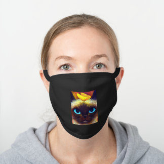Cute Chic Siamese Blue Eyed Cat With Butterfly Black Cotton Face Mask