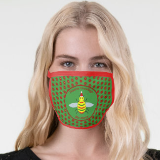 Cute Christmas Bee and Poinsettia Flowers Face Mask