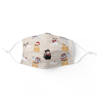 Cute Christmas Cats Adult Cloth Face Mask