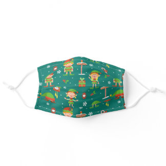 Cute Christmas Elf Pattern Adult Cloth Face Mask