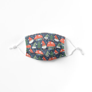 Cute Christmas Gnome Toadstool House Blue Red Kids' Cloth Face Mask