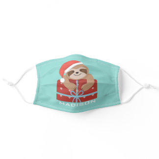 Cute Christmas Holiday Sloth Personalized Name Adult Cloth Face Mask