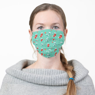 Cute Christmas Stockings Teal Blue Adult Cloth Face Mask
