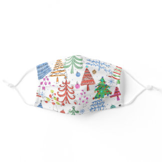 Cute Christmas Tree Pink, Green, Red, Blue Pattern Adult Cloth Face Mask