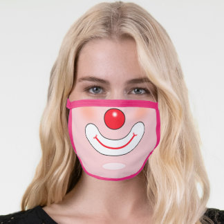 Cute circus clown on light pink face mask