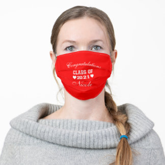 Cute Class of 2021 Red Customize Adult Cloth Face Mask