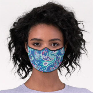 Cute Classic Blue Red Paisley Premium Face Mask