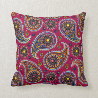 Cute Classic Paisley Red Navy Blue Yellow Throw Pillow