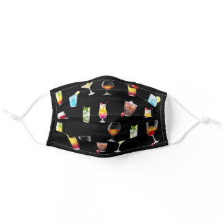 Cute Cocktail Pattern Wine Brandy Martini Shot Adult Cloth Face Mask