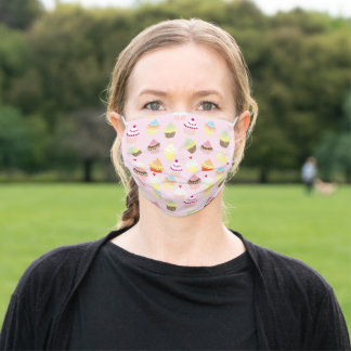 Cute Collection of Illustrated Cupcakes Adult Cloth Face Mask