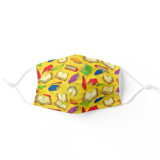 Cute Colorful Books on Yellow Pattern Adult Cloth Face Mask
