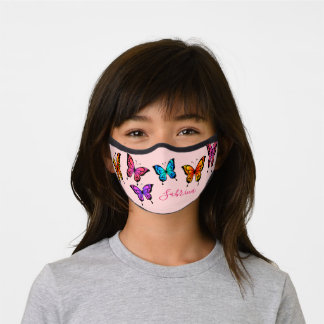 Cute colorful butterflies name custom calligraphy premium face mask