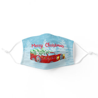 Cute Colorful Christmas Tree Truck Adult Cloth Face Mask